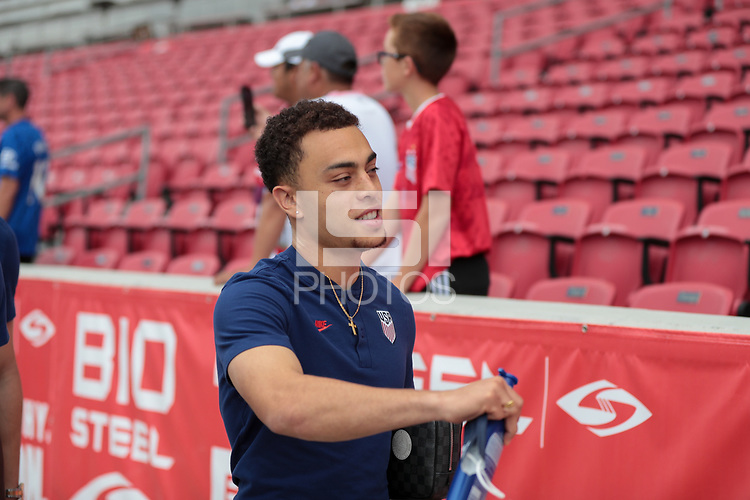 SANDY, UT - JUNE 10: Sergino Dest #2 of the United States before a game between Costa Rica and USMNT at Rio Tinto Stadium on June 10, 2021 in Sandy, Utah.