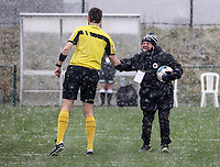 Match referee Michael Lonnoygives a fist bump to Eendracht Aalst star before  during a friendly female soccer game between SC Eendracht Aalst and Club Brugge YLA on Saturday 16 January 2021 at Zandberg Youth Complex in Aalst , Belgium . PHOTO SPORTPIX.BE   SPP   SEVIL OKTEM