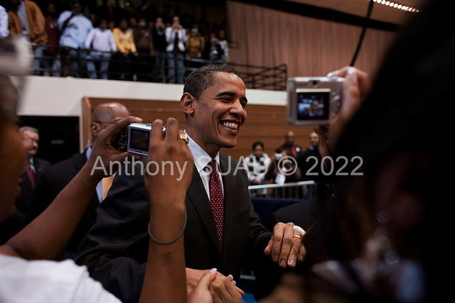 Orangeburg, South Carolina.January 22, 2008 ..Supporters welcome Presidential hopeful Sen. Barack Obama (D-IL) who holds a campaign rally at South Carolina State University. Obama is campaigning through the state ahead of its Democratic primary on January 26. He is joined by singer Usher Raymond, actress Kerry Washington, and actor Chris Tucker..