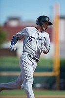 Salt River Rafters third baseman Lucas Erceg (16), of the Milwaukee Brewers organization, rounds third base after hitting a home run during a game against the Mesa Solar Sox on October 18, 2017 at Sloan Park in Mesa, Arizona. The Rafters defeated the Solar Sox 6-5. (Zachary Lucy/Four Seam Images)