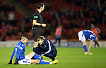 Aberdeen v St Johnstone…..05.02.20   Pittodrie   SPFL<br />Michael O'Halloran is treated by Physio Mel Stewart before going off injured<br />Picture by Graeme Hart.<br />Copyright Perthshire Picture Agency<br />Tel: 01738 623350  Mobile: 07990 594431