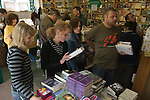 A crowded book shop in Hay. The Hay Festival, Hay on Wye, Powys, Wales, Great Britain. 2006.