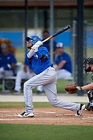 Toronto Blue Jays second baseman Hugo Cardona (4) follows through on a swing during a Florida Instructional League game against the Pittsburgh Pirates on September 20, 2018 at the Englebert Complex in Dunedin, Florida.  (Mike Janes/Four Seam Images)