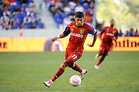 Javier Morales (11) of Real Salt Lake. The New York Red Bulls and Real Salt Lake played to a 0-0 tie during a Major League Soccer (MLS) match at Red Bull Arena in Harrison, NJ, on October 09, 2010.