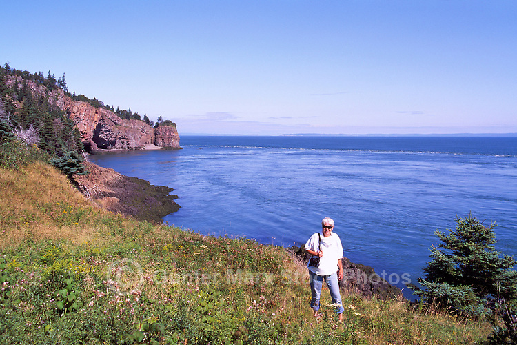 Cape d'Or, NS, Nova Scotia, Canada - Rugged Coastline along Bay of Fundy overlooking Minas Basin, and Basalt Headlands with Sea Caves - Fundy Shore & Annapolis Valley Region (Model Released)