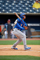 Durham Bulls Kean Wong (5) at bat during an International League game against the Toledo Mud Hens on July 16, 2019 at Fifth Third Field in Toledo, Ohio.  Durham defeated Toledo 7-1.  (Mike Janes/Four Seam Images)