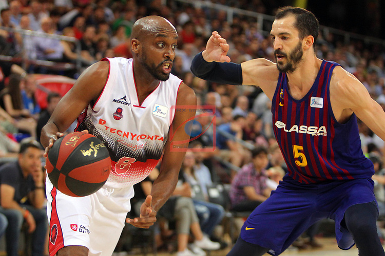League ACB-ENDESA 201/2019.Game 38.<br /> PlayOff Semifinals.1st match.<br /> FC Barcelona Lassa vs Tecnyconta Zaragoza: 101-59.<br /> J. Berhanemeskel vs Pau Ribas.