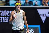 8th February 2021, Melbourne, Victoria, Australia;  Alexander Zverev of Germany celebrates after winning a game during round 1 of the 2021 Australian Open on February 8 2020
