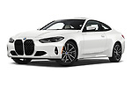Stock pictures of low aggressive front three quarter view of 2021 BMW 4-Series-Coupe 430i 2 Door Coupe Low Aggressive