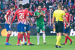 Atletico de Madrid Saul Niguez, Lucas Hernandez and Stefan Savic and Deportivo Alaves Manu Garcia Sanchez during La Liga match between Atletico de Madrid and Deportivo Alaves at Wanda Metropolitano in Madrid, Spain. December 08, 2018. (ALTERPHOTOS/Borja B.Hojas)