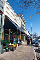 People visit outside of Mr. Taco Loco Tuesday Feb. 23, 2020, in downtown Springdale. Check out nwaonline.com/210224Daily/ for today's photo gallery<br /> (NWA Democrat-Gazette/Spencer Tirey)
