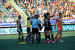 The Hague, Netherlands, June 05: Players of New Zealand call for a video referral during the field hockey group match (Women - Group A) between New Zealand and The Netherlands on June 5, 2014 during the World Cup 2014 at Kyocera Stadium in The Hague, Netherlands. Final score 0-2 (0-2) (Photo by Dirk Markgraf / www.265-images.com) *** Local caption ***