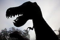 One of the massive metal sculptures of dinosaurs, among other things, in Half Moon Bay.
