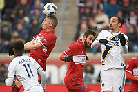 Bridgeview, IL - Saturday April 14, 2018: Zlatan Ibrahimovic, Bastian Schweinsteiger during a regular season Major League Soccer (MLS) match between the Chicago Fire and the LA Galaxy at Toyota Park.  The LA Galaxy defeated the Chicago Fire by the score of 1-0.