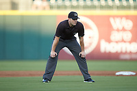 Third base umpire Adam Beck during the International League game between the Buffalo Bisons and the Charlotte Knights at BB&T BallPark on July 24, 2019 in Charlotte, North Carolina. The Bisons defeated the Knights 8-4. (Brian Westerholt/Four Seam Images)