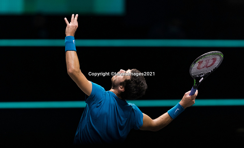 Rotterdam, The Netherlands, 2 march  2021, ABNAMRO World Tennis Tournament, Ahoy, First round match: Karen Khachanov (RUS).<br /> Photo: www.tennisimages.com/henkkoster