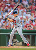 28 May 2016: St. Louis Cardinals outfielder Stephen Piscotty in action against the Washington Nationals at Nationals Park in Washington, DC. The Cardinals defeated the Nationals 9-4 to take a 2-games to 1 lead in their 4-game series. Mandatory Credit: Ed Wolfstein Photo *** RAW (NEF) Image File Available ***