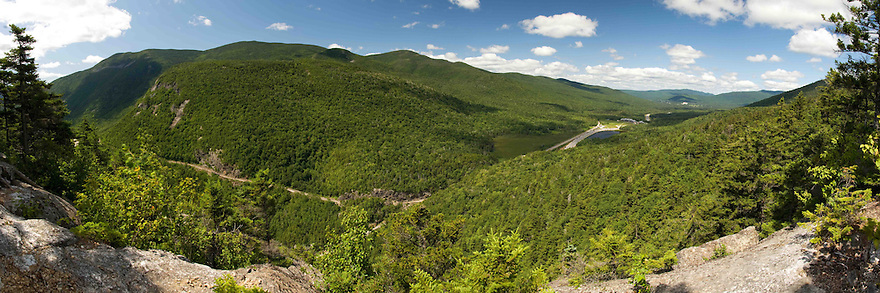 A unique view of upper Crawford Notch and the AMC Highland Center can be had from several vantage points in the surrounding terrain.