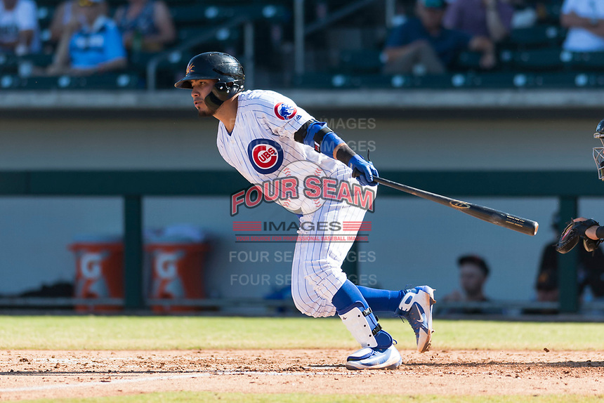 Mesa Solar Sox catcher Jhonny Pereda (6), of the Chicago Cubs organization, starts down the first base line during an Arizona Fall League game against the Salt River Rafters at Sloan Park on October 30, 2018 in Mesa, Arizona. Salt River defeated Mesa 14-4 . (Zachary Lucy/Four Seam Images)