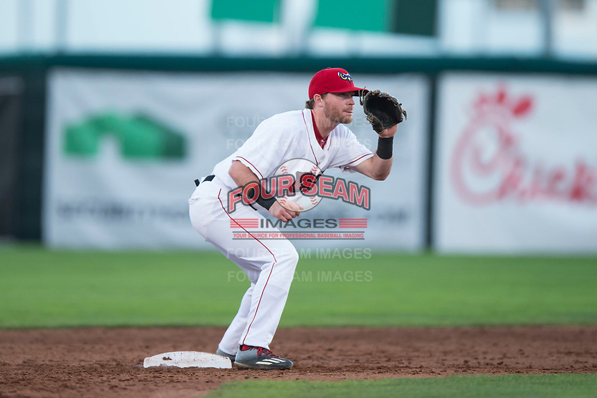 Orem Owlz second baseman Justin Jones (33) waits to receive a throw during a Pioneer League game against the Ogden Raptors at Home of the OWLZ on August 24, 2018 in Orem, Utah. The Ogden Raptors defeated the Orem Owlz by a score of 13-5. (Zachary Lucy/Four Seam Images)