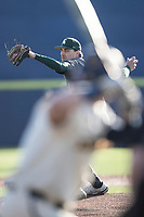 Michigan State pitcher William Christophersen (31) delivers a pitch to the plate against the Michigan Wolverines on March 21, 2021 in NCAA baseball action at Ray Fisher Stadium in Ann Arbor, Michigan. Michigan scored 8 runs in the bottom of the ninth inning to defeat the Spartans 8-7. (Andrew Woolley/Four Seam Images)
