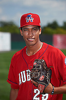 Auburn Doubledays pitcher Joan Baez (29) poses for a photo before a game against the Batavia Muckdogs on September 7, 2015 at Falcon Park in Auburn, New York.  Auburn defeated Batavia 11-10 in ten innings.  (Mike Janes/Four Seam Images)