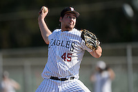 Edgewood Eagles pitcher Elijah Roche (45) during the first game of a doubleheader against the UW-Stout Blue Devils on March 16, 2015 at Lee County Player Development Complex in Fort Myers, Florida.  UW-Stout defeated Edgewood 6-1.  (Mike Janes/Four Seam Images)