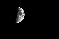 The first quarter moon on September 27, 2017 from a backyard near San Francisco Bay, California.