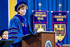 May 19, 2018; Louise Richardson, vice-chancellor of Oxford University, delivers the commencement address at the Graduate School Commencement ceremony in the Compton Family Ice Arena. (Photo by Matt Cashore/University of Notre Dame)