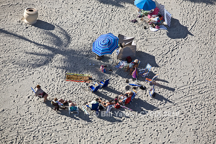 Retirees soaking up the winter sun, South Beach, Miami Beach, Florida - helicopter aerial