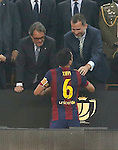 FC Barcelona's Xavi Hernandez celebrates the vicroty in the Spanish King's Cup Final match in presence of King Felipe VI of Spain. May 30,2015. (ALTERPHOTOS/Acero)