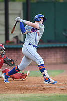 Kingsport Mets Brett Baty (1) follows through on a swing during a game against the Elizabethton Twins at Northeast Community Credit Union Ballpark on July 5, 2019 in Elizabethton, Tennessee. The Twins defeated the Mets 7-1. (Tracy Proffitt/Four Seam Images)