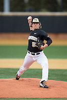 Wake Forest Demon Deacons starting pitcher Garrett Kelly (28) in action against the Appalachian State Mountaineers at Wake Forest Baseball Park on February 13, 2015 in Winston-Salem, North Carolina.  The Mountaineers defeated the Demon Deacons 10-1.  (Brian Westerholt/Four Seam Images)