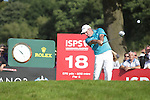 European Ryder Cup captain Paul McGinley hits his drive on the 18th during the 3rd round of ISPS Handa Wales Open 2013 at the Celtic Manor Resort.<br /> <br /> 31.08.13<br /> <br /> ©Steve Pope-Sportingwales