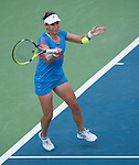 Anabel Medina Garrigues (ESP) battles to three sets in her first match at the Western and Southern Financial Group Masters Series in Cincinnati on August 12, 2012