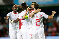 Switzerland's Breel Embolo, Denis Zakaria, Stephan Lichtsteiner and Ricardo Rodriguez celebrate goal during international friendly match. June 3,2018.(ALTERPHOTOS/Acero)