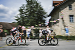 Matej Mohoric (SLO) Bahrain-Victorious and Brent Van Moer (BEL) Lotto Soudal escape from the breakaway during Stage 7 of the 2021 Tour de France, running 249.1km from Vierzon to Le Creusot, France. 2nd July 2021.  <br /> Picture: A.S.O./Pauline Ballet | Cyclefile<br /> <br /> All photos usage must carry mandatory copyright credit (© Cyclefile | A.S.O./Pauline Ballet)