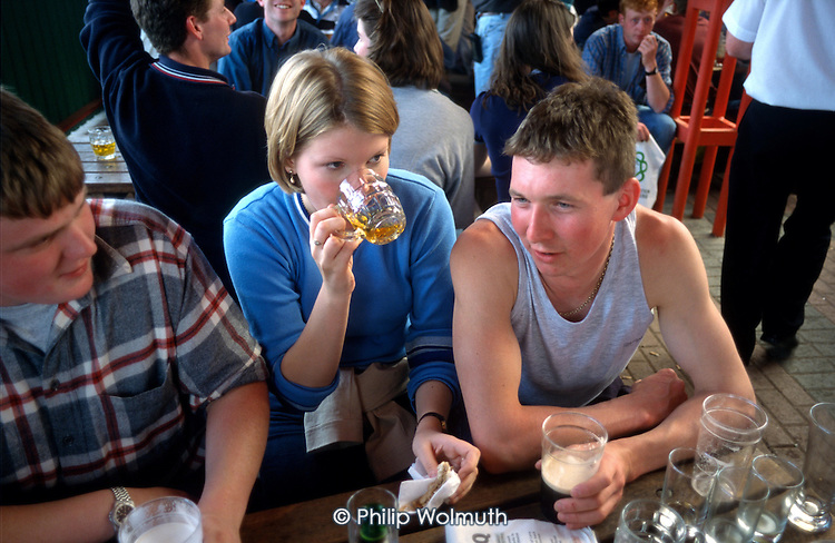 Lancashire Young Farmers in a beer tent at the Royal Show, Stoneleigh, Warwickshire.