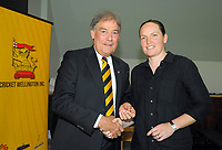 Amanda Cooper (right) with David Howman. Cricket Wellington membership badge presentations in the Long Room at the Basin Reserve in Wellington, New Zealand on Saturday, 14 November 2020. Photo: Dave Lintott / lintottphoto.co.nz