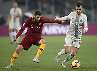 Football, Serie A: AS Roma - InterMilan, Olympic stadium, Rome, December 02, 2018. <br /> Inter's Ivan Perisic (r) in action with Davide Santon (l) during the Italian Serie A football match between Roma and Inter at Rome's Olympic stadium, on December 02, 2018.<br /> UPDATE IMAGES PRESS/Isabella Bonotto