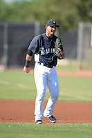 Seattle Mariners first baseman Yordyn Calderon (3) during practice before an Instructional League game against the Milwaukee Brewers on October 4, 2014 at Peoria Stadium Training Complex in Peoria, Arizona.  (Mike Janes/Four Seam Images)