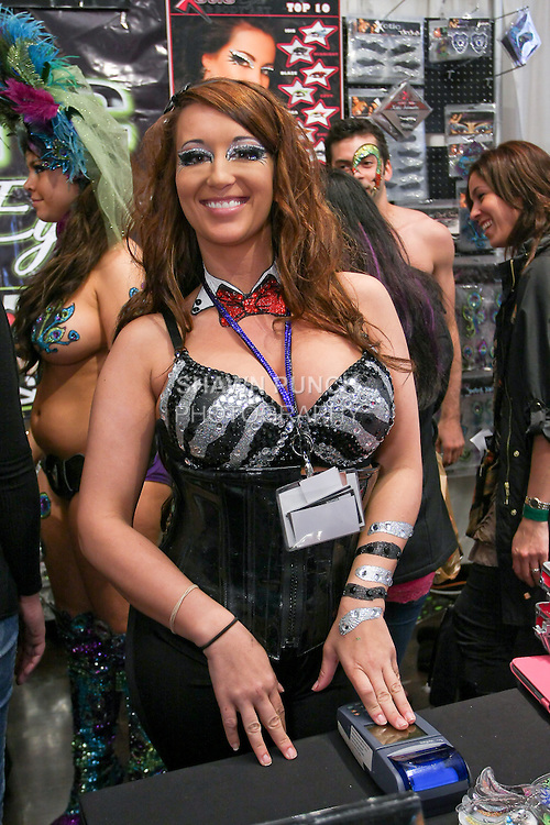 Shannon Maxey of Xotic Eyes, poses at the Makeup Show NYC, in the Metropolitan Pavilion, May 15 2011.