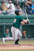 Catcher Dylan Shockley (29) of the Greensboro Grasshoppers in a game against the Greenville Drive on Saturday, July 24, 2021, at Fluor Field at the West End in Greenville, South Carolina. (Tom Priddy/Four Seam Images)