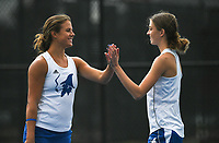 Rogers'Grace Lueders and JK Bohnert score a point, Monday, October 11, 2021 during the 6A state girls and boys tennis tournament at Memorial Park in Bentonville. Check out nwaonline.com/211012Daily/ for today's photo gallery. <br /> (NWA Democrat-Gazette/Charlie Kaijo)