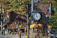 Town clock with autumn decorations, Sleepy Hollow, New York, USA