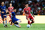Chelsea Defender Gary Cahill (L) fights for the ball with Bayern Munich Midfielder James Rodríguez (R) during the International Champions Cup match between Chelsea FC and FC Bayern Munich at National Stadium on July 25, 2017 in Singapore. Photo by Marcio Rodrigo Machado / Power Sport Images