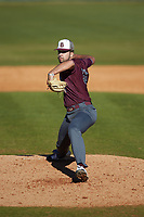 Concord Mountain Lions relief pitcher Nick Herrerias (50) in action against the Wingate Bulldogs at Ron Christopher Stadium on February 2, 2020 in Wingate, North Carolina. The Mountain Lions defeated the Bulldogs 12-11. (Brian Westerholt/Four Seam Images)