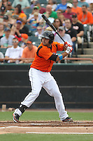 Bowie Baysox first baseman Rhyne Hughes #9 bats during a game against the New Hampshire Fisher Cats at Prince George's Stadium on June 17, 2012 in Bowie, Maryland. New Hampshire defeated Bowie 4-3 in 13 innings. (Brace Hemmelgarn/Four Seam Images)