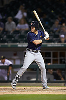 Josh Lester (23) of the Toledo Mud Hens at bat against the Charlotte Knights at BB&T BallPark on April 24, 2019 in Charlotte, North Carolina. The Knights defeated the Mud Hens 9-6. (Brian Westerholt/Four Seam Images)