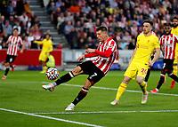 25th September 2021; Brentford Community Stadium, London, England; Premier League Football Brentford versus Liverpool; Sergi Canos of Brentford kicks the ball out